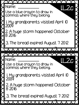 Commas - MANY resources for GRADES 1 - 3 (L.1.2c, 2.L.2b, L.2.3b, L.3.2c)