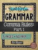 Commas Part 1:  Beginning Comma Rules