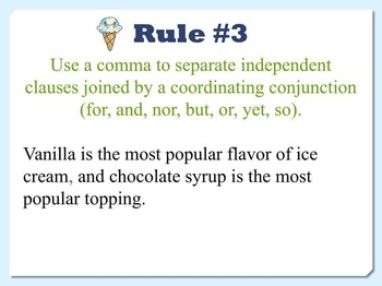 Commas Power Point - Rules and Practice