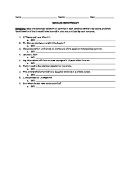 Commas Practice Homework Worksheets
