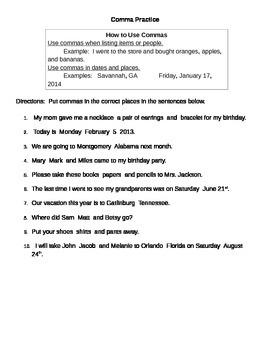 Commas Practice Sheet
