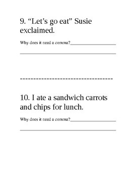 Commas Practice and Quiz