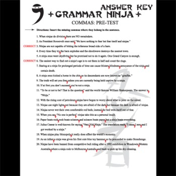 Commas Pre-test - Grammar Ninja