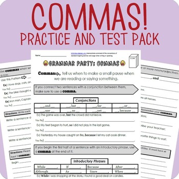Comma Workheets Packet + Test