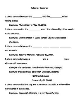 Commas - Rules, Practice, Quiz