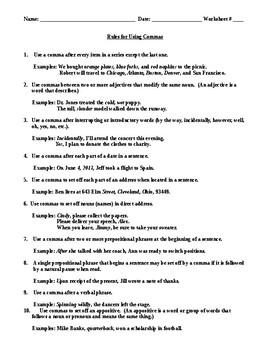 Comma Rules for Elementary School Children