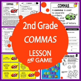 Commas Activities + Lesson, FULL COLOR Poster & Game, Commas Worksheet)
