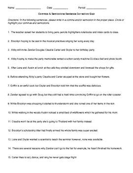 Commas & Semicolons Quiz