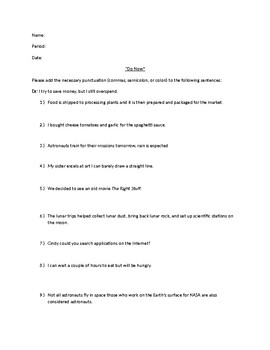 Commas, Semicolons, and Colon practice worksheet