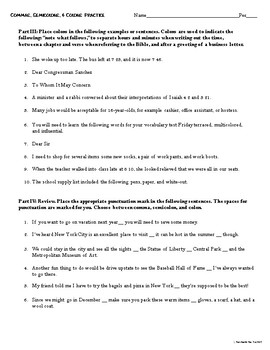 Commas, Semicolons, and Colons Freebie Practice Worksheet