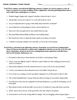 commas semicolons and colons freebie practice worksheet by teacher in the rye. Black Bedroom Furniture Sets. Home Design Ideas