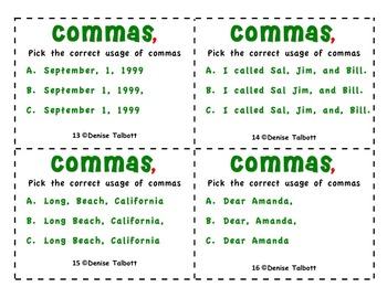 Commas Task Cards