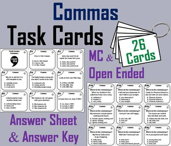 Using Commas Task Cards/ Commas in a Series Task Cards/ Co