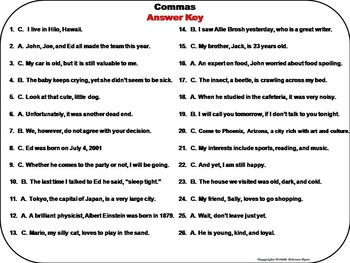 Using Commas Task Cards/ Commas in a Series Task Cards/ Comma Rules Task Cards