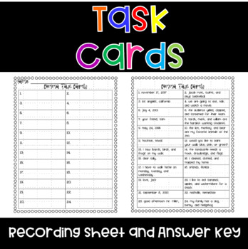 Commas Task Cards