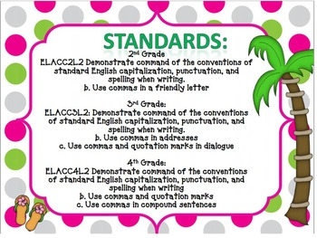 Commas Task Cards common core