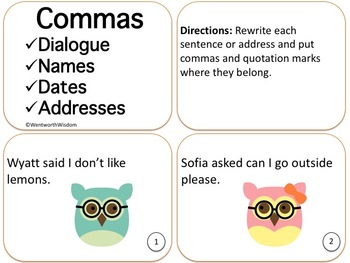 Commas Task Cards Literacy Center Review Practice or Test Prep ESL Activities