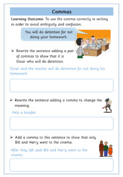 Commas To Clarify Meaning - Set of 10 Worksheets