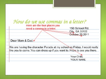 Commas Use PowerPoint for Elementary Common Core