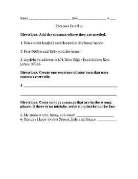Commas Worksheet 2