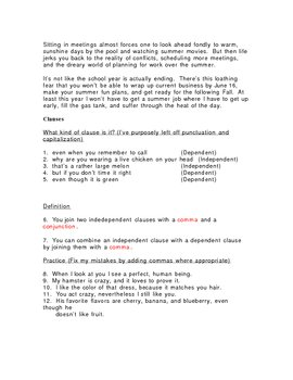 Commas and Clauses Assessment/Quiz