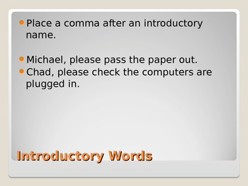 Commas and Introductory Words Power Point