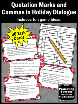 Commas and Quotation Marks Task Cards, Holiday Theme