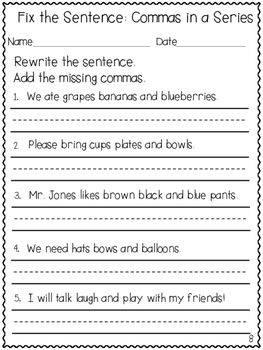Commas for Beginners Practice Sheets