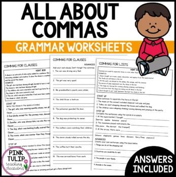 Commas for Clauses, Commas for Lists - Grammar Worksheets with Answers