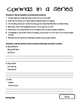 Worksheet: Commas - in a series (2) | abcteach