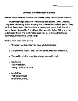 Commas in Addresses Assessments