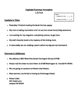Commas in Addresses & Capitalizing Titles L.3.2a,e,f,g