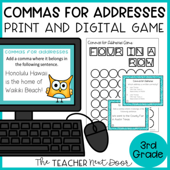Commas in Addresses Game   Commas in Addresses Center Activity