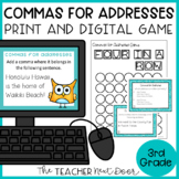 Commas in Addresses Game Print and Digital Distance Learning