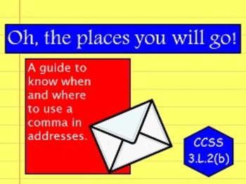 Commas in Addresses L.2(b) FLIPCHARTS and worksheets!