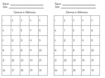 Commas in Addresses Task Cards