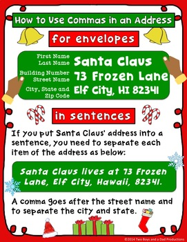 Commas in Addresses and Quotations Christmas Edition