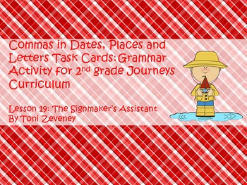 Commas in Dates, Places, and Letters Task Cards for Journe