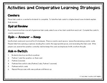 Commas in Dates and Addresses Grammar Task Cards, Games, and Centers