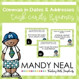 Commas in Dates and Addresses Grammar Task Cards, Games, a