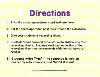 Commas in Dates and Places SCOOT/Task Cards Bundle
