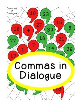 Commas in Dialogue Punctuation Writing PDF Printable Sentences Activity