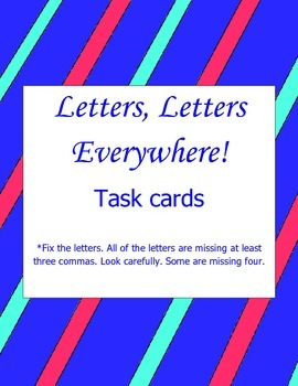 Commas in Friendly Letters Task Cards: Common Core