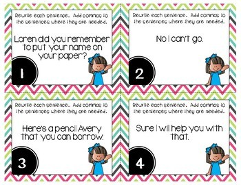 Commas in Intro. Words, Names, and Letters Grammar Task Cards, Games, & Centers