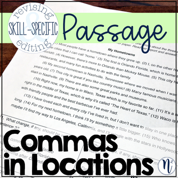 Commas in Locations: Skill-Specific Revising and Editing Passage