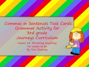 Commas in Sentences Task Cards for Journeys 3rd Grade