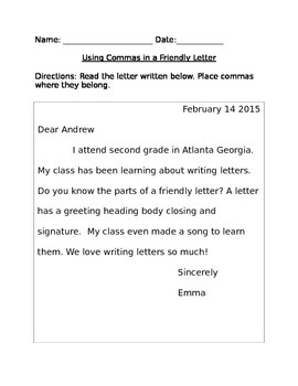 Commas in a Letter