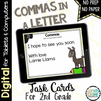 Commas in a Letter Task Cards for Google Use