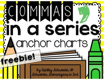 Commas in a Series Anchor Chart FREEBIE!
