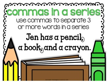 commas in a series anchor chart freebie by schroeder shenanigans in 2nd. Black Bedroom Furniture Sets. Home Design Ideas